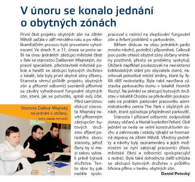Článek v Klíči č. 5/2009 - V únoru se konalo jednání o obytných zónách