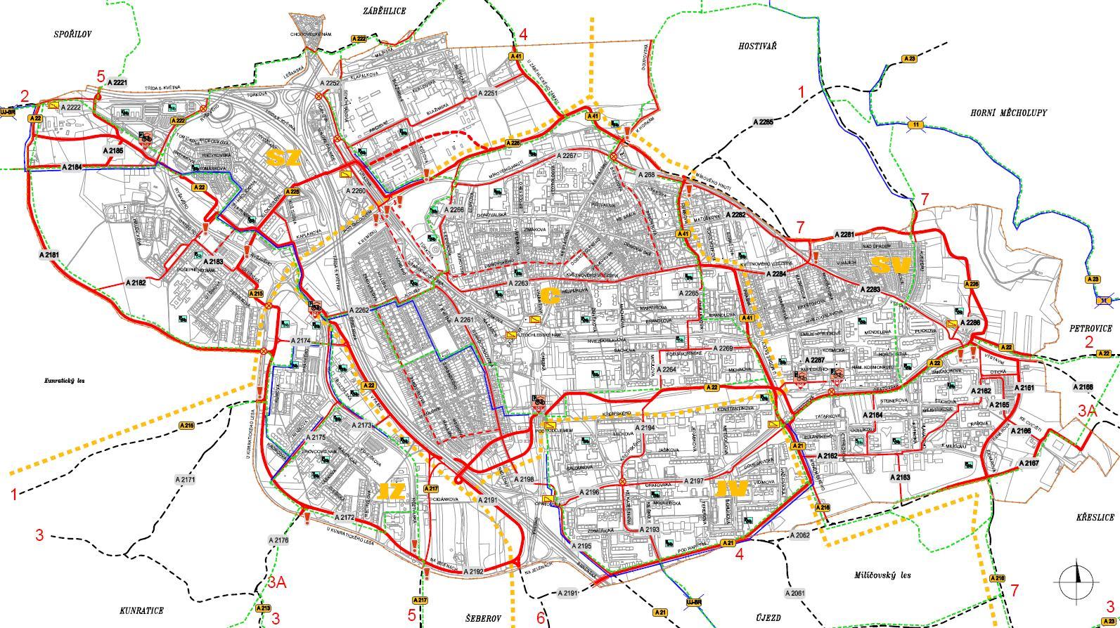 návrh cyklistické infrastruktury, obrázek se otevře v novém okně